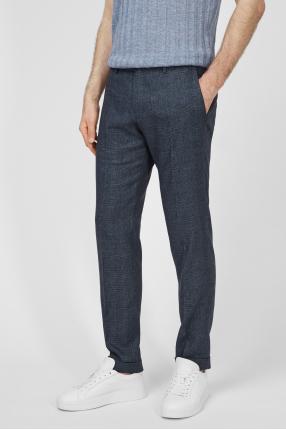 Чоловічі сірі брюки у клітинку 1