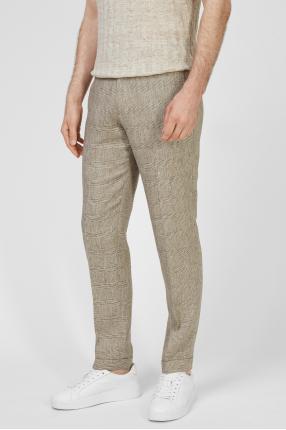 Чоловічі бежеві брюки у клітинку 1