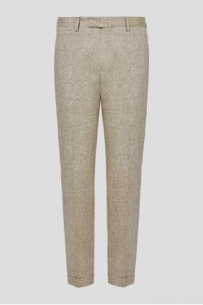 Чоловічі бежеві брюки у клітинку