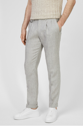 Чоловічі сірі лляні брюки 1