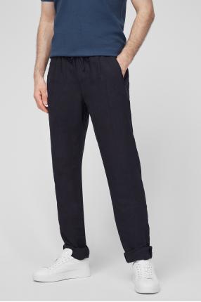 Чоловічі чорні лляні брюки 1