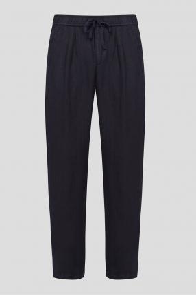 Чоловічі чорні лляні брюки