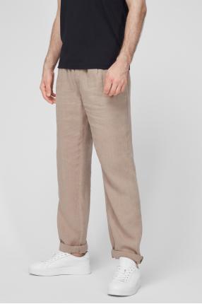 Чоловічі бежеві лляні брюки 1