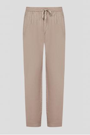 Чоловічі бежеві лляні брюки