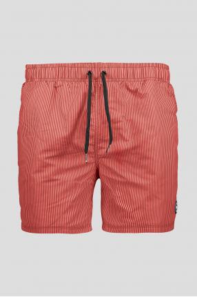 Мужские красные плавательные шорты в полоску