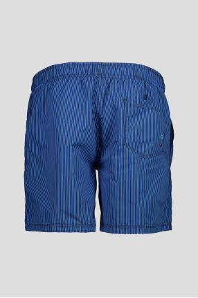 Мужские синие плавательные шорты в полоску 1