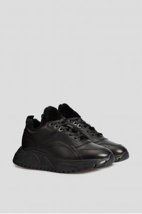 Жіночі чорні шкіряні кросівки з хутром 1