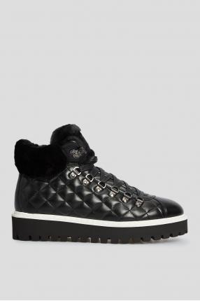 Жіночі чорні шкіряні черевики з хутром