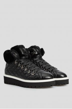 Жіночі чорні шкіряні черевики з хутром 1