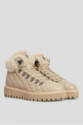 Жіночі бежеві шкіряні черевики з хутром 1
