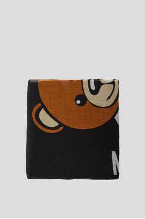 Женский черный шерстяной шарф 1