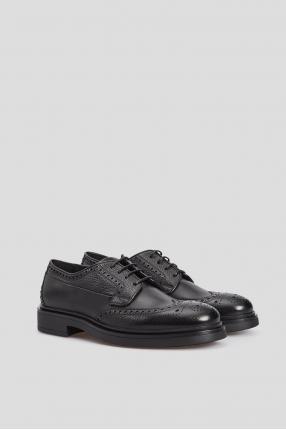 Мужские черные кожаные броги 1