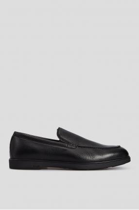 Мужские черные кожаные лоферы