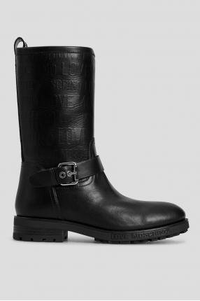 Жіночі чорні шкіряні чоботи