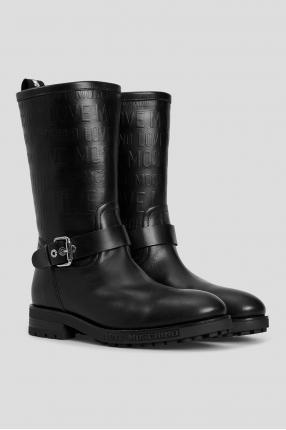 Жіночі чорні шкіряні чоботи 1