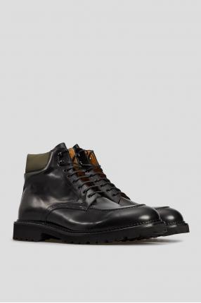 Мужские черные кожаные ботинки  1