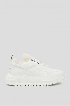 Женские белые кожаные кроссовки New Malaga