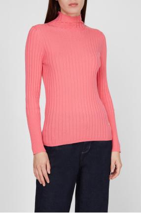 Женский розовый шерстяной гольф 1