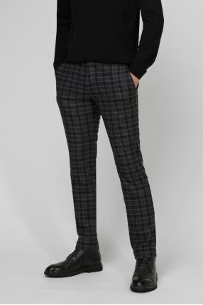 Мужские темно-серые шерстяные брюки в клетку 1