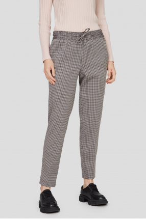 Жіночі бежеві брюки з візерунком 1