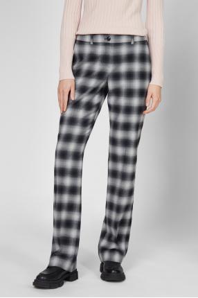 Жіночі сірі вовняні брюки у клітинку 1