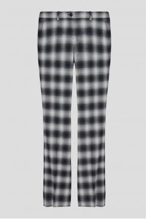 Жіночі сірі вовняні брюки у клітинку
