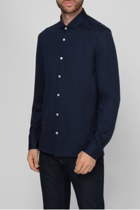 Мужская темно-синяя шерстяная рубашка 1