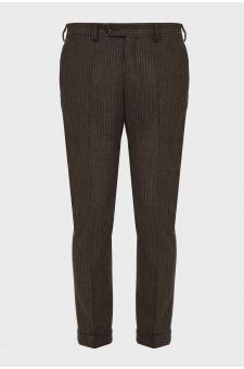 Мужские коричневые шерстяные брюки в полоску