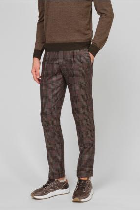 Мужские коричневые шерстяные брюки в клетку 1