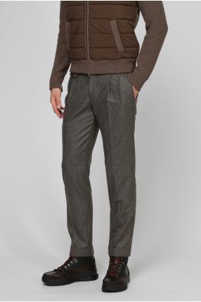 Мужские коричневые шерстяные брюки 1