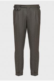 Мужские коричневые шерстяные брюки