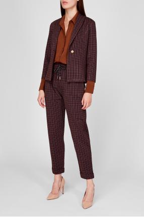 Жіночий коричневий костюм (жакет, брюки) 1