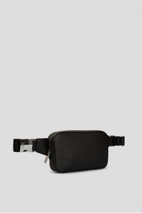 Мужская черная кожаная поясная сумка 1