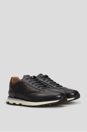 Чоловічі темно-сині шкіряні кросівки 1