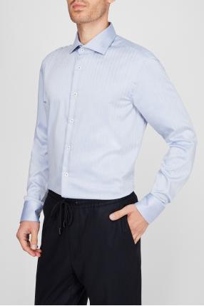 Чоловіча блакитна сорочка у смужку 1