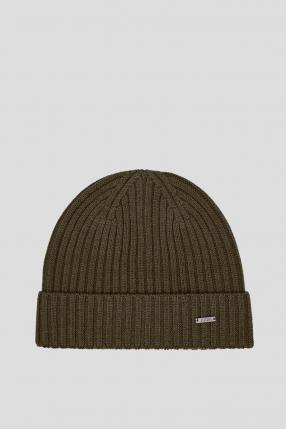Мужская зеленая шерстяная шапка