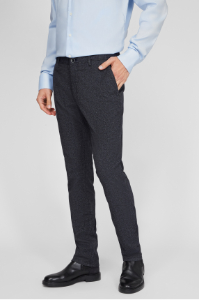 Мужские темно-серые брюки в клетку 1