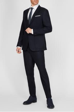 Чоловічий темно-синій вовняний костюм (блейзер, брюки) 1