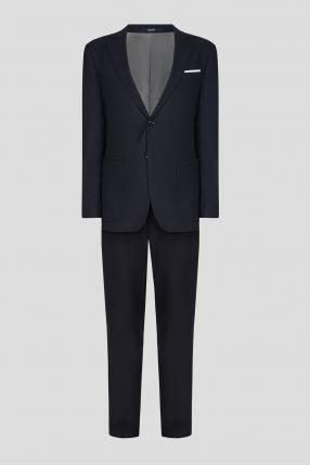 Чоловічий темно-синій вовняний костюм (блейзер, брюки)