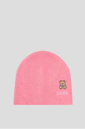 Женская розовая шерстяная шапка