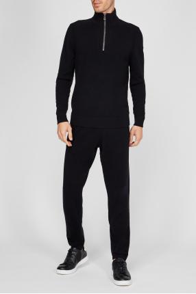 Чоловічий чорний вовняний костюм (джемпер, штани) 1