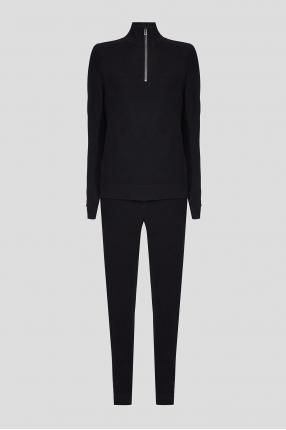 Чоловічий чорний вовняний костюм (джемпер, штани)