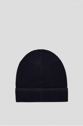 Мужская синяя шерстяная шапка 1