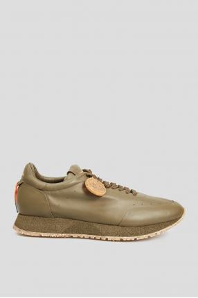 Чоловічі оливкові шкіряні кросівки