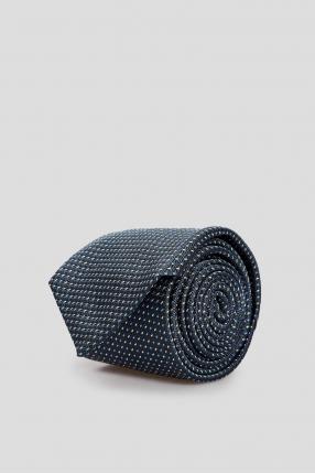 Чоловіча синя шовкова краватка у клітинку