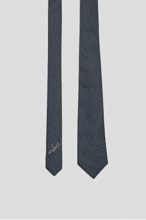 Чоловіча синя шовкова краватка у клітинку 1