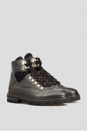 Женские черные кожаные ботинки 1
