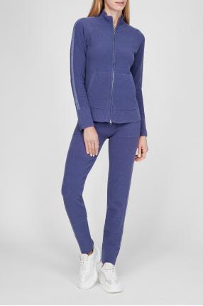 Женский фиолетовый шерстяной костюм (кофта, брюки) 1