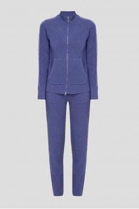 Женский фиолетовый шерстяной костюм (кофта, брюки)