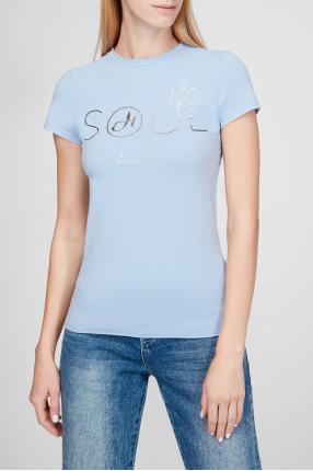 Женская голубая футболка 1
